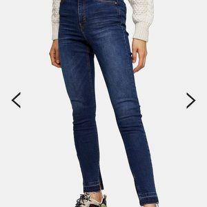💙 Topshop High Rise Split Hem Skinny Jeans